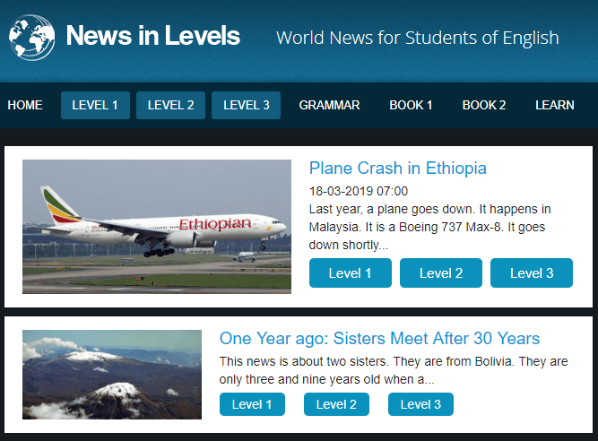 Website News in level www.newsinlevels.com